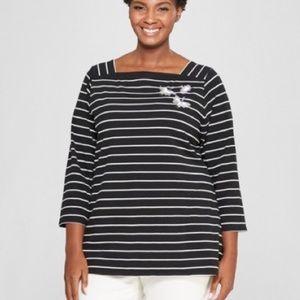 Ava & Viv Black & White Striped Boat Neck Bird Top